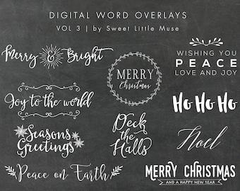 Digital Holiday Word overlays - christmas overlays - digital word overlays - christmas word art