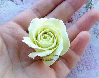 Ivory Rose, polymer clay flower, flowers for decor