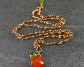 Mandarin garnet necklace, handmade gold filled, yellow sapphire necklace with garnet and peridot-OOAK Apricot Harvest