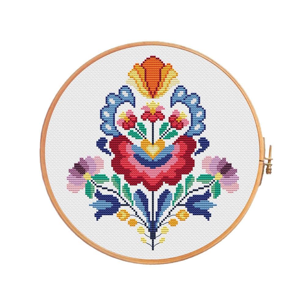Summer wycinanki flowers cross stitch pattern modern cross