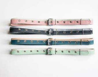Vegan belt for women Black leather belt Pink belt Waist belt Teal vegan leather belt for jeans