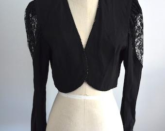 Vintage 80s BLACK Beads & Sequins BOLERO JACKET