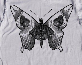 mens butterfly skull shirt- American Apparel silver- available in S, M, L , XL, XXL WorldWide Shipping