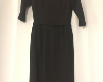Marvelous Mrs. Maisel style! Black 1950s vintage woolen Jonathan Logan sheath dress with bows, half-length sleeves