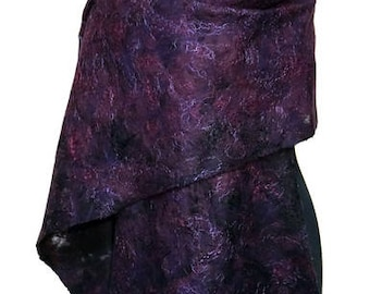 "Silk - felt shawl ""painting"" plum and violet color"