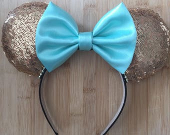 Sequin Ears, fabric bow.  You pick colors. Mix and match.