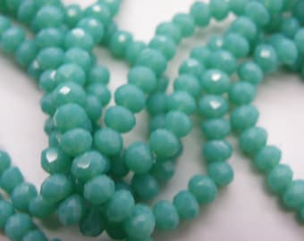 60 opaque green turquoise 4mm Crystal beads