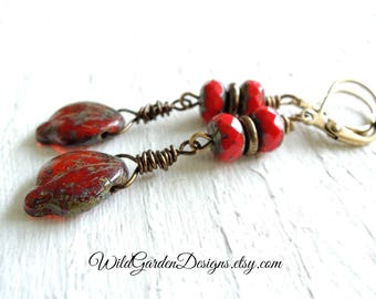 Boho Red Leaf Earrings Fall Leaves Dangle Earrings Crimson Scarlet Czech Glass Earrings Autumn Leaves Fall Color Rustic Wire Wrapped Style