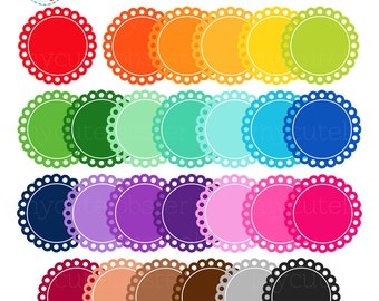 Scalloped Rainbow Circle Frames Clipart Set - clip art set, labels, tags, frames - personal use, small commercial use, instant download