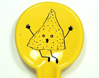 spoon rest featuring An Overly Enthusiastic Nacho Chip.  Made to Order/Pick Your Colour