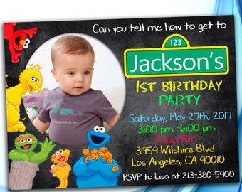 Sesame Street Invitation. Sesame Street Birthday Invitation. Sesame Street Photo Invitation. Sesame Street Party