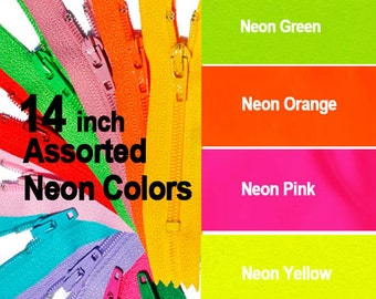 Wholesale YKK Zippers Assorted Colors- Neon -14 inch Number 3 Nylon Coil Closed Bottom- 12 Ykk zippers( 3 each color)