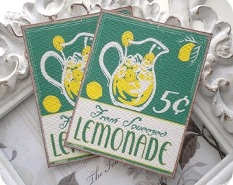 Lemonade Gift Tags (6) Lemonade Note Cards-Lemonade Favor Tags-Lemonade Party-Retro Food Tag-Lemonade Birthday