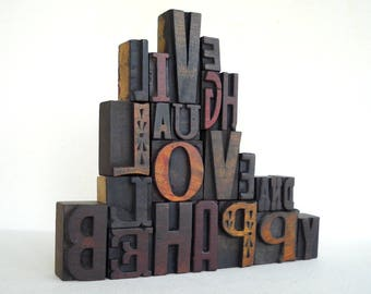 Live Laugh Love and Be Happy- Vintage Letterpress Wood Type Alphabets Collection - Art Installation - VG10