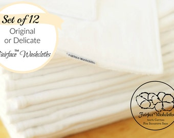 Best Face cloths for gentle cleansing, washable, reusable soft for Sensitive Skin & Rosacea, Set of 12, Calming 100% Cotton fabrics Fairface