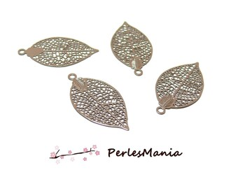 4 prints filigree leaf Brown clear 25 mm pendant