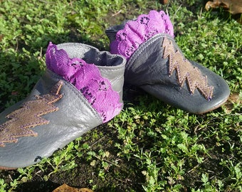 Leather baby shoes purple lace and lightning bolts