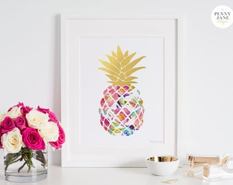 Pineapple Decor, Pineapple Print, Floral Pineapple, Watercolor Pineapple, Home Decor Wall Art, Instant Download, Pink Gold Decor, Nursery
