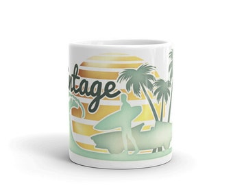 Vintage Style Mug with Beach, Supercar, Surfer with surfboard, Wave and Palm trees and sunset design, Coffee Mug, Gift For Him, by RadioNils