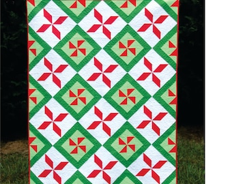 Poinsettia Pinwheels - a digital quilt pattern - modern Christmas and holiday quilt