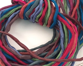 Hand Painted Silk Cord - Hand Dyed Silk - Silk Ribbon - Jewelry Supplies - Wrap Bracelet - Craft Supplies - 2mm Silk Cord Item No.383