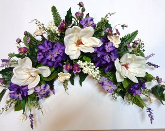 Flower swag etsy grapevine arch swag silk ivory magnolia and purple hydrangea flowers swag wall door mightylinksfo Choice Image
