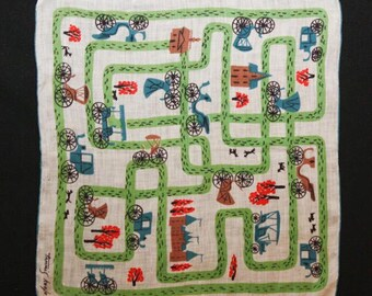 Old Fashioned Carriages Print Hanky by Tammis Keefe - 1960s Scarf - Spring Village Scene - 60s Novelty Print Fine Cotton - Designer - 37383