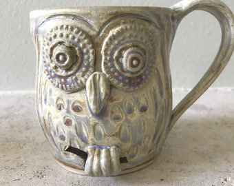 Hand carved white spotted owl mug