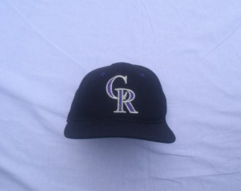 Vintage Colorado Rockies Plain Logo Leather Strapback