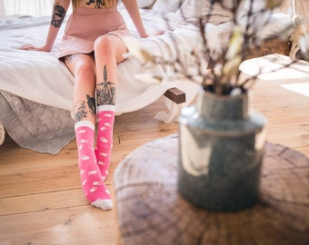 Pink Socks with Teeth Pattern for Men and Women