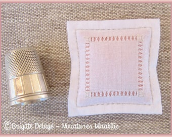 Miniature pillow embroidered bundles knotted white pink