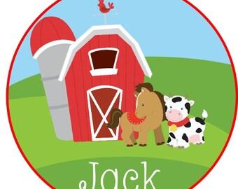 Sweet little farm boy Barn and animals Iron on