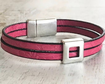 Pink Leather Bracelet, Pink Leather Cuff Bracelet, Pink Cuff Bracelet, Stackable Bracelet, Magnetic Clasp