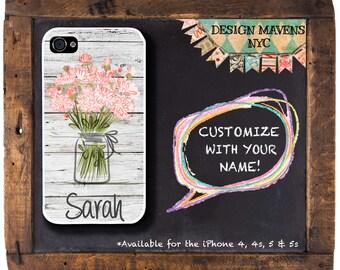 Floral Mason Jar iPhone Case with Monogram, Personalized iPhone Case, Floral iPhone Case, iPhone 4, 4s, iPhone 5, 5s, iPhone 5c, iPhone 6