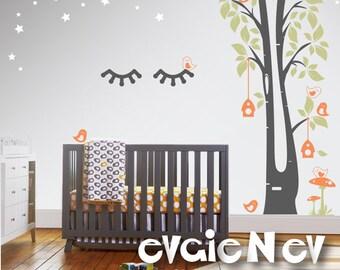 Sleepy Eyes Wall Decal with Tree, Birds, Birdhouses, Mushroom, Stars - Sleepy Eyelashes for Nursery - Unicorn Lashes Wall Decals