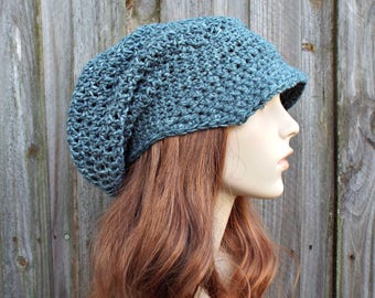 Grey Blue Womens Hat Slouchy Beanie Dreadlock Hat With Brim - Weekender Slouchy Hat Blue Crochet Hat - Blue Hat Blue Beanie - READY TO SHIP