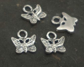 sterling silver micro butterfly charm (1) , tiny solid silver butterfly , butterfly 925 silver charm , small silver butterfly charm .