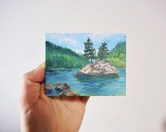Mini painting Landscape Lake Mountain Nature acrylics on canvas wooden easel Miniature gift idea