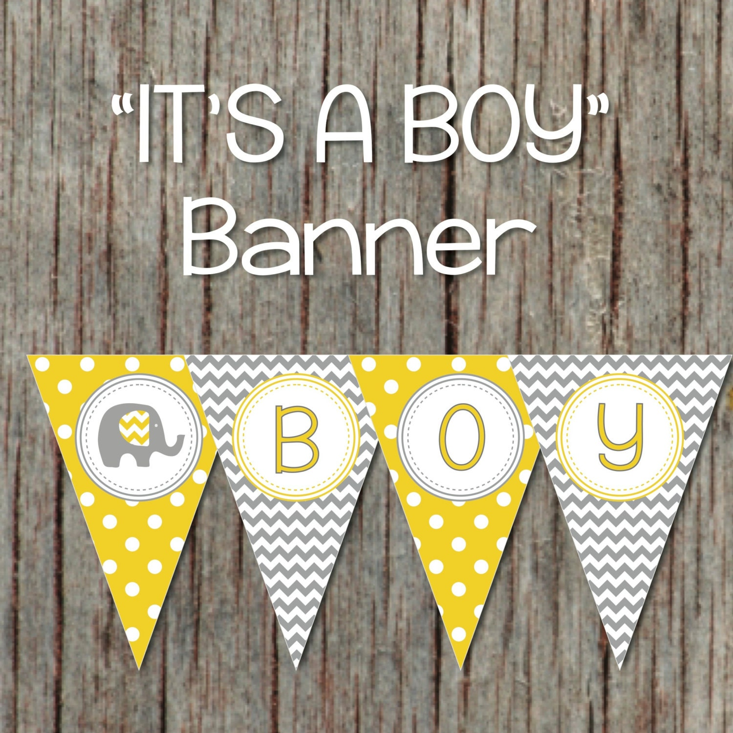 Yellow Grey Baby Shower Banner Elephant Printable Decorations