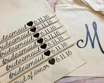 Bridal tote | Bridal party gift | Wedding favor | Monogrammed tote | Wedding tote
