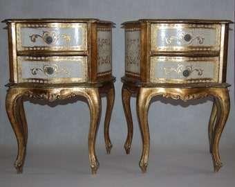 Pair mid century Florentine Italy night cabinet bedside tables 1950