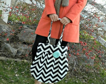 Conceal Carry, Chevron Bag, Large Zig Zag Tote, Black and White, Large Hobo Style Bag, Fun Bag, Large Purse