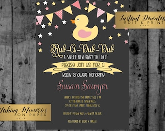 Pink Duck Baby Shower Ducky, Printable Invitation, INSTANT DOWNLOAD, Rub A Dub Dub, Ducky Baby Shower, Duck Baby Shower