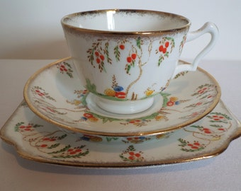 Vintage Teacup Trio. 1930s Cottage Garden Tea Cup, Saucer and Cake Plate With Hand Painted Lupins And Blossom Trees. Ideal Tea For One Gift