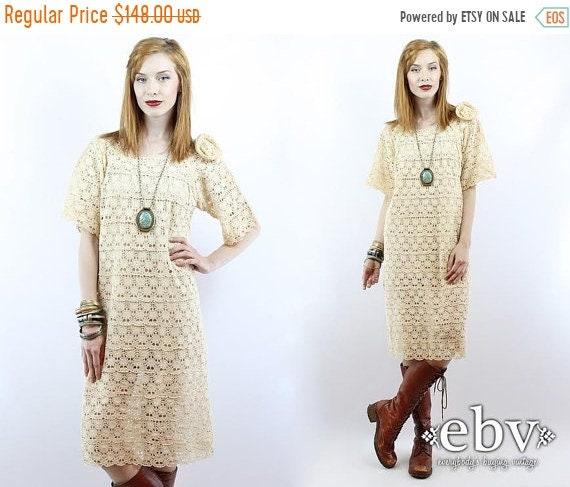 Vintage 70s Crochet Lace Dress S M Hippie Wedding Dress Hippie