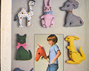 Vintage Stuffed Animals Sewing Pattern  Simplicity 7744 Stuffed Animals Hobby Horse   Complete Uncut