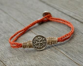 Winner & Success King Solomon Sterling Silver Amulet on Two Tone Charm Bracelet for Men