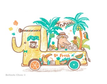 Tropical Fruit Van - A3 Original limited edition silk screen print