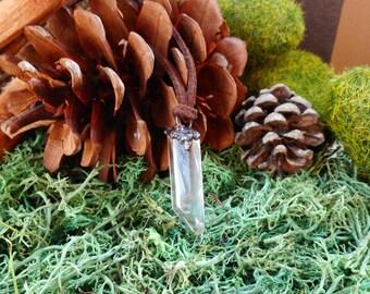 Electroformed Clear Crystal Quartz Wand Necklace, Electroforming Copper with Clear Crystal Quartz Shard