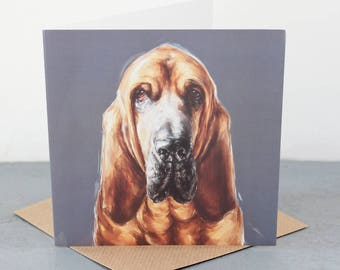 Bloodhound Fine art card, dog gift card, bloodhound dog lover